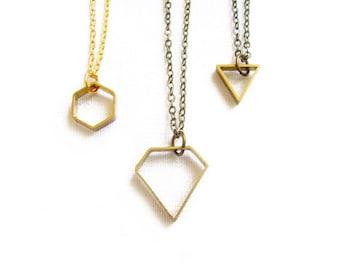 Minimalist Geometric Necklace, Diamond Necklace, Hexagon Necklace, Triangle Necklace - Tiny Treasures Collection