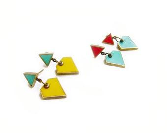 Geometric  Dangle Earrings, Triangle Post Earrings, Colorful Diamond Earrings