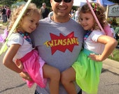 """Twin DAD or Twin MOM """"TWINSANE"""" Great t-shirt for Mothers or Fathers of Twins, celebrate being a parent of twins"""