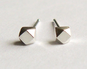 Silver Stud Earings - Tiny Faceted Sterling Geometric Cubes - Faux Diamond Stud Earrings - Cartilage Studs - Nickle Free - by Hook & Matter