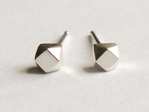 Silver Stud Earrings - Tiny Faceted Sterling Geometric Stud Earings - Cartilage Studs - Nickle Free - Ethical & Eco Friendly Jewelry