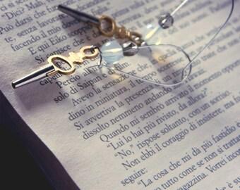Earthquake Italy Aid key watch earrings - steampunk elegant victorian skeleton key