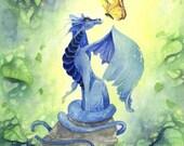 Dragon Art Print - Little Blue Dragon - watercolor. fantasy. green. nature. fairy tale. butterfly.