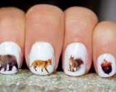 42 Woodland Creatures Nail Decals. Include Bear, Fox, Squirrel, Raccoon, Hawk, deer and Acorn - obscuraoutfitters