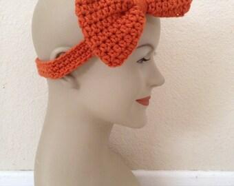 CLEARANCE Crochet Bow Headband - Orange