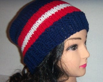 Chicago Team Hat, Blue, Red and White, Striped Slouchy Beanie Hat, Mens Hat, Baseball Hat, Mens Accessories, Womans Accessories