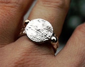 Silver Moon Ring - Small Circle Reticulated Textured Thin Band Stacking Little Mountain Sterling Hammered Thumb Pinky Men Women OOAK Metal