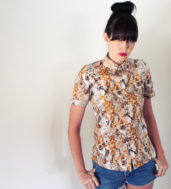 BUTTONUP CAT SHIRT WOMEN'S SHORT SLEEVE BY ROGUEMINXCLOTHING on ...