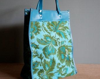 Vintage 70s TAPESTRY Teal Green Tote Travel Bag