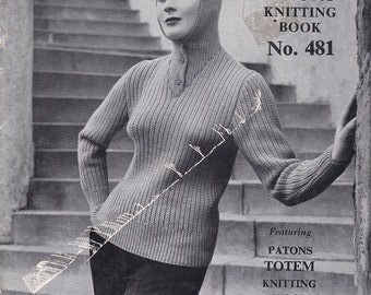 Patons 481 Womens Vintage 50s Vintage Knitting Patterns Booklet 8ply Retro Sweaters