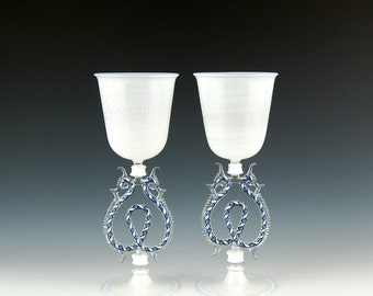 Venetian Goblets in White, hand blown glass