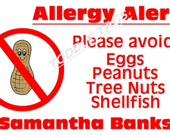 Peanut Allergy Bag Tag Allergy Alert Tag Preschool Backpack Bag Tag Nut Allergy Tag School Bag Tag Backpack Tag