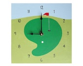 Children's Clock - Custom Hand Painted Kids Wall Clock - Sports Theme Golf Green with Flag or Any Room Decor Theme