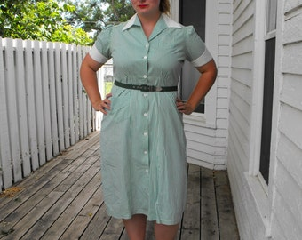 Vintage 50s Green Striped Dress Cotton Print 1950s 46 Bust 37 Waist XL XXL Plus