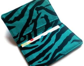 Credit Card Wallet, Business Card Holder, gift card holder- Zebra Print Black and Blue