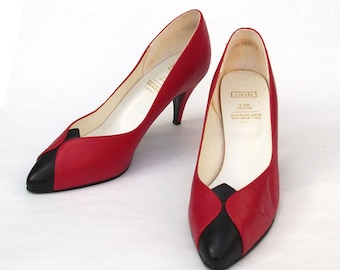Vintage Red and Black High Heel Shoes - Geometric Design - Vegan