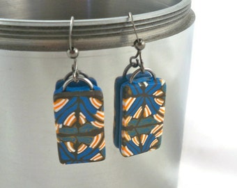 Mod dangle earrings polymer clay rectangles