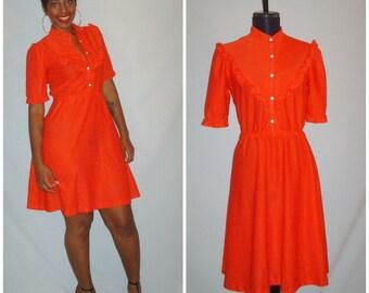 Vintage 1970s Red Polka Dot Dress Ruffle Collar