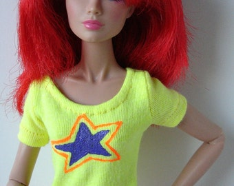 Jem Neon yellow t-shirt with purple and orange star logo for Jem and the Holograms and other 12-inch fashion dolls