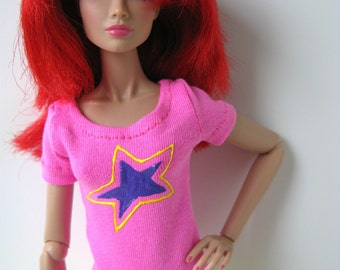 Neon pink t-shirt with purple and yellow star logo for Jem and the Holograms and other 12-inch fashion dolls