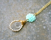 CLEARANCE Mint and White Crystal Flower Gold Necklace