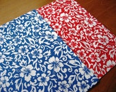 "Reversible Floral Table Runner - Tropical Runner - Blue Runner - Red Runner - Beach Runner - 12"" by 72"""