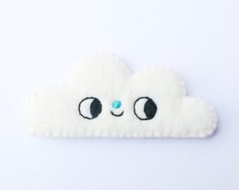 Happy Cloud Brooch, Kawaii Cloud, White Fluffy Cloud
