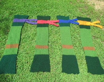 All Four Ninja Turtle Scarves, Adult Scarves, Custom Made, Free Shipping