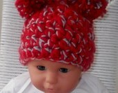 OHIO STATE...BUCKEYES... Baby Girl or Boy....Available in 3 sizes...Red and Gray...Pom Pom Hat...Adorable Hat.