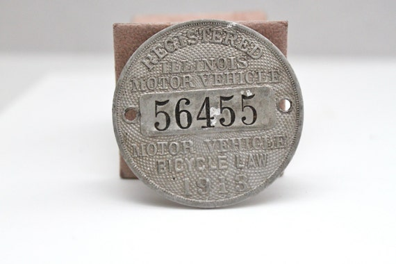 Antique 1913 ilinois motor bicycle license plate by for Colorado motorized bicycle laws