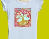 Tree of Life Tshirt Handmade Shirt Hand Printed Tree Art - all sizes available Men, Women, Children and Babies  // Original Wearable Art