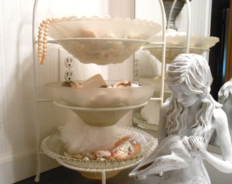 Decorative 3 Tiered  Stand with Vintage Glass Light Shades for Bowls,  Shabby Chic, Cottage Chic three tier
