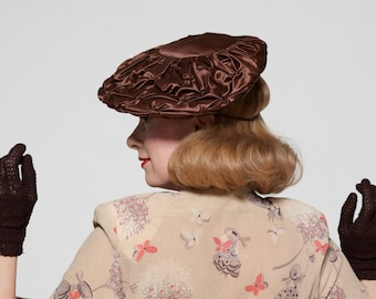 Vintage 1940s Pancake Hat - Tufted Silk Chocolate Brown - 1930s Fashions