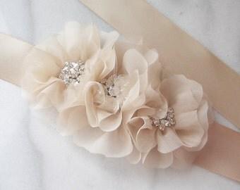 Champagne Bridal Sash, Bridal Belt, Wedding Sash, Rhinestone Bridal Sash - CHALONS EN CHAMPAGNE