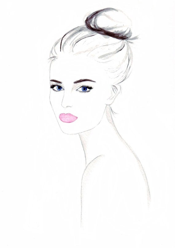 Watercolour fashion illustration Titled Muse