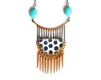 Geometric Necklace, Brass Turquoise Necklace,  Gemstone Necklace, Gold Spike Jewelry, Geometric Jewelry, Spike Necklace, Leather Jewelry