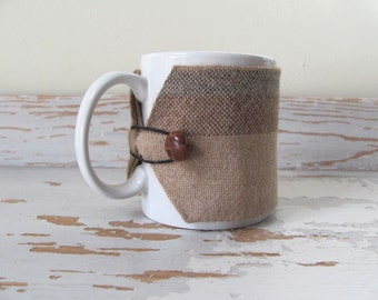 Brown Alpaca Gourmet Coffee Mug Cozy, Large Woven Hot Cup Sleeve, Cocoa Tea Mug Wrap Cup Coat, Hygge Coffee Gift, Office Foodie Gift Idea