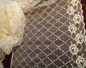 """15"""" Wide Antique Style Lace Ivory Lace Edwardian Style Lace Wedding Lace Antique Wedding Bridal Lace Formal Fabric Ivory Tulle S112"""