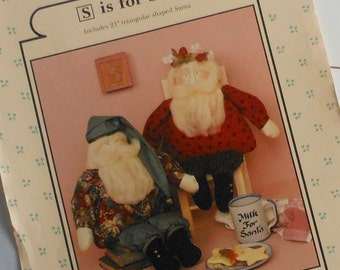 VIntage Pattern for 21 Inch Stuffed Santa Dolls Country Style Rag Dolls