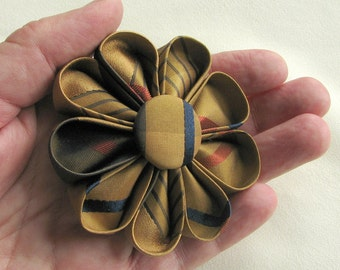 Copper with Red and Navy Stripes Silk Kanzashi Flower Pin, Fall Fashion Accessory - Boutonniére