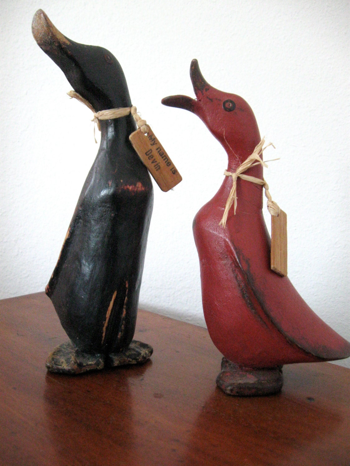Vintage carved wood geese with name tags angelia and devin