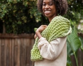 Spring Green Chunky Circle Infinity Scarf - Handknit and Ready to Ship
