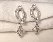 TRUE Vintage Art Deco Clear Rhinestone Earrings, Old Hollywood Glam Crystal Dangle Earrings, Downton Abbey 1920s Flapper Jewlery Bridal