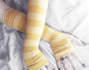 Piper Arm Warmers | Mustard Gold Maize Yellow Striped Cotton | Gothic Yoga Cycling Running Unisex Gloves Cosplay Casual Fall Goth Emo Gypsy
