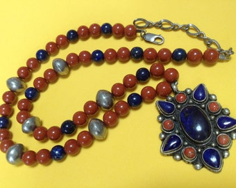 Vintage Lapis Lazuli Jasper Afghanistan Pendant Necklace