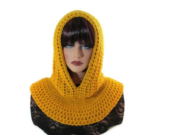 Mustard Hood, Gold Scarf, Fishermans Hood, Men Scarf, Citrine, Yellow, Medieval, Women Scarf, Snood, Renaissance, Winter Accessories