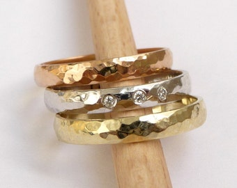 Gold wedding ring set engagement ring diamond ring wedding bands three color stacking rings
