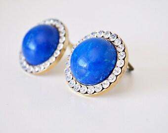 Vintage Stone and Rhinestone Earrings