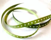 """3/8"""" Willow Green with White Dots 4 yards Grosgrain Ribbon Trim   (R 24)"""
