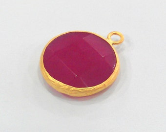 21 mm. Ruby Pendants  , Gold Plated  Bezel ,   G914